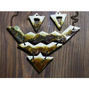 "Eco jewelry set (clay necklace and earrings) ""Snow-capped peaks"""