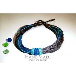 "Eco jute necklace ""Night breeze"""