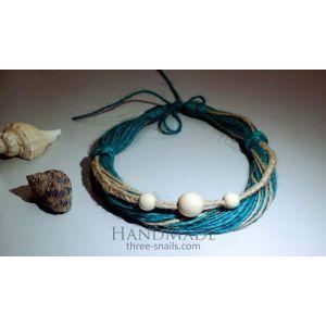 "Eco jute necklace ""Sea stones"""
