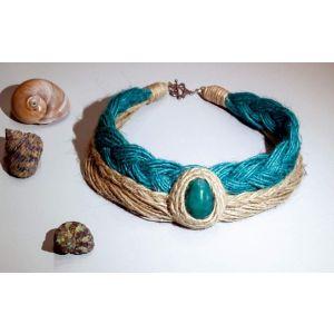 "Eco jute necklace ""Turquoise"""