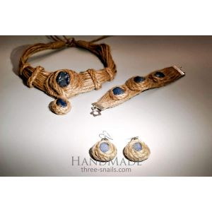 "Eco jute set ""Blue agate"""