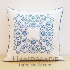 Embroidered blue pillowcase