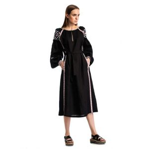 """Embroidered long dress 'Black mystery"""""""