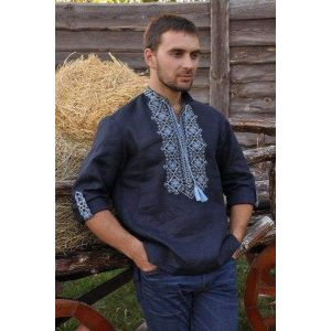 "Embroidered mens shirt ""Power of the land"""