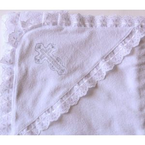Embroidered terry christening towel