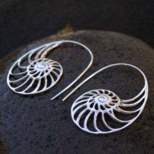 Fibonacci silver earrings