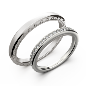 White gold wedding ring set