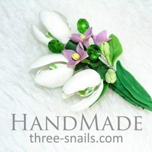 "Flower brooch ""Snowdrops"""