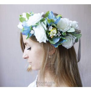 "Flower headbands ""Blue and white harmony"""