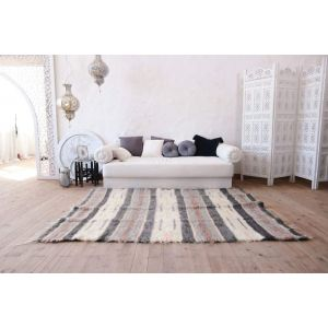 "Fluffy living room rug ""Gray and white stripes"""