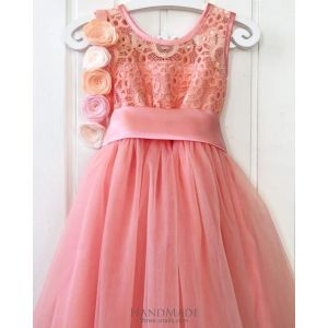 Fluffy peach dress for girls