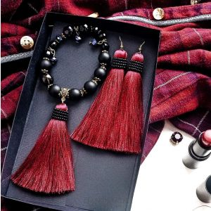Fringe jewelry set of lush earrings and a bracelet
