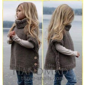 Girls poncho sleeveless cardigan