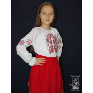 "Girls white blouse ""Ruby viburnum"""