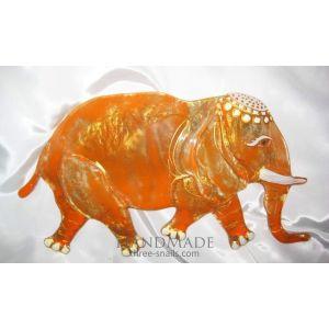 "Glass Elephant. Handmade home decoration ""Orange Sun"""
