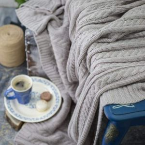 Gray wool cable knit throw