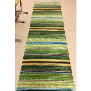 Green long runner rug