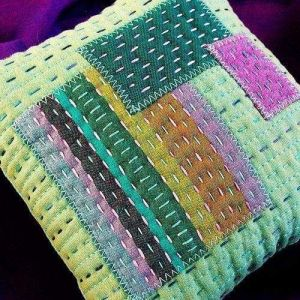 Green patchwork pillowcase