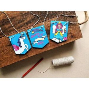 Hand painted Unicorn wooden sigh set