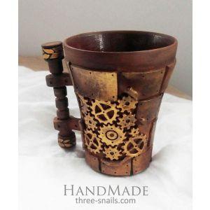 "Handcrafted ceramic mugs ""Ancient machine"""