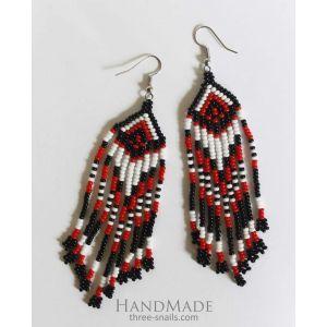 "Handmade beaded earrings ""Ethnic waves"""