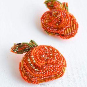 Handmade brooch - mandarin orange. Set of 2 pcs