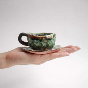 "Handmade ceramic coffee cup ""Sea shell"""
