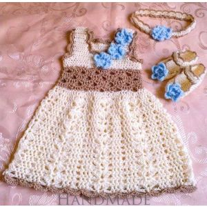 "Handmade crocheted set ""Forget-me-not"""