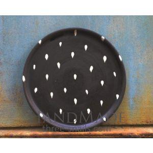 "Handmade dinnerware plate ""Rain drops"""