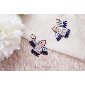 "Handmade earrings ""Blue bird"""