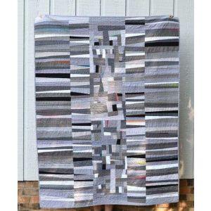 Handmade gray patchwork quilt