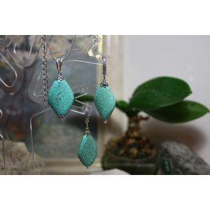 "Handmade jewelry set (earrings and pendant) ""Aztec spirit"""