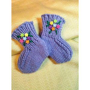 """Handmade knitted baby socks """"Flowers"""""""