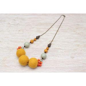 "Handmade Woolen necklace ""Three suns"""