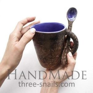 "Handmodeling ceramic cup ""Evening"""