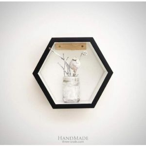 "Hexagon wooden shelf ""White&black"""