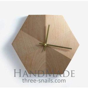 Hexagon wooden wall clock