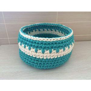 "Home crochet basket ""Vanilla-Turquoise"""