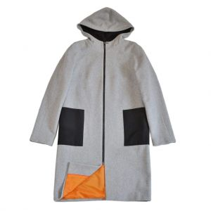 "Hooded wool coat ""Grey & orange"""