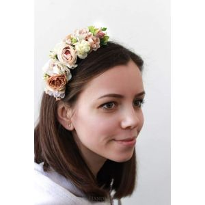 "Ivory floral headpiece ""Tea roses"""