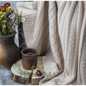 Ivory warm knitted blanket
