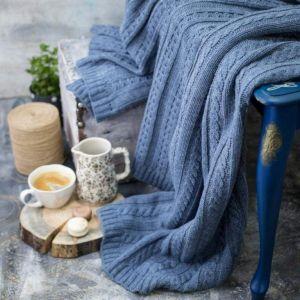 Jeans color wool knit blanket