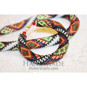 Jewelry fashion set. Bracelet and jute «Bukovinets»