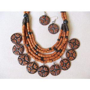 "Jewelry set ""Terracotta flowers"""