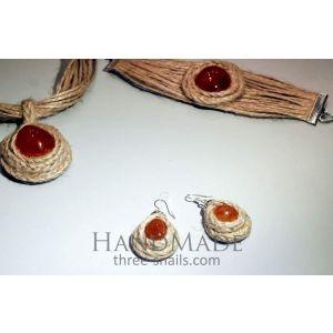 """Jute jewelry set """"Cornelian"""""""