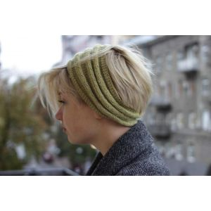 "Knit winter headband ""Olive elegance"""