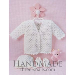 "Knitted baby suit ""Lace"" Baby jumper, knitted hat, baby slippers"