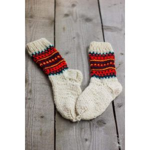 "Knitted eco wool socks ""Fancy Friday"""