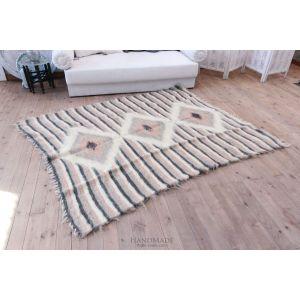 "Large orange area rug ""Lozenge pattern"""