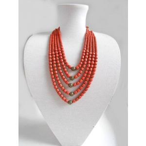5 rows clay bead necklace